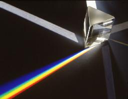 This prism shows how different wavelengths of light is bent in differing amounts as it passes from air to glass and back to air again.